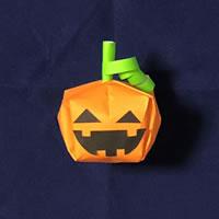 折り紙で作る♪ハロウィンかぼちゃの簡単な「「顔の部分の作り方」