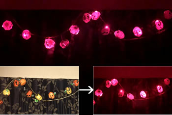折り紙で手作り!ハロウィンかぼちゃの飾り方バリエーション「LEDイルミネーション」