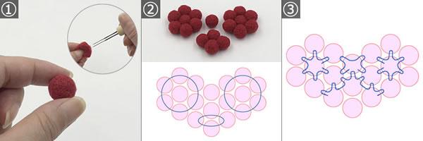 フェルトボールで簡単に作れる「ハート型コースター」の作り方手順 1~3