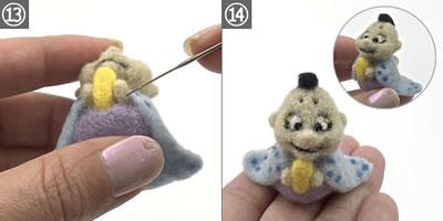 羊毛フェルトで作る雛人形「お内裏様(男雛)」の作り方手順 13~14