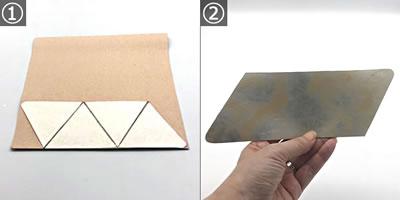 【小学生の手芸】針を使わない簡単な小銭入れの作り方「フェイクレザーをカット」する手順 1~3